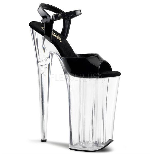 BEYOND-009     Extrem High Heels Sandalette mit Riemchen schwarz Lack und durchsichtigem Plateau